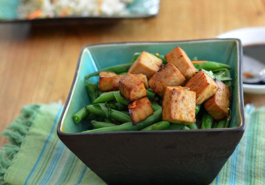 BAked tofu on veggies