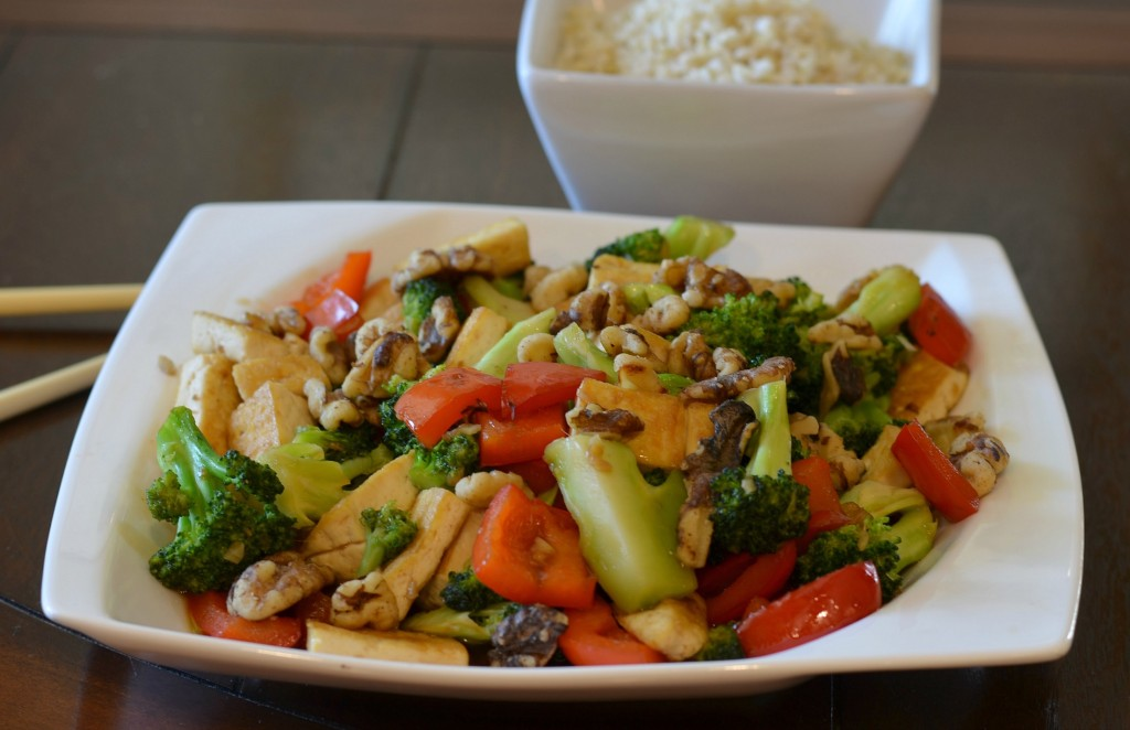 Walnut Broccoli and Tofu Stir Fry