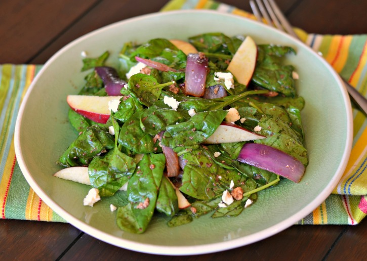 Warm Feta Apple Spinach Salad