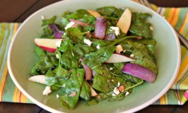 Warm Spinach Salad with Apples and Feta Dressing