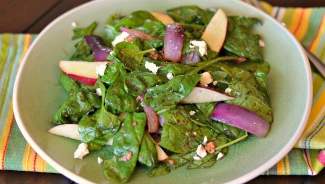Warm Feta Apple Spinach Salad
