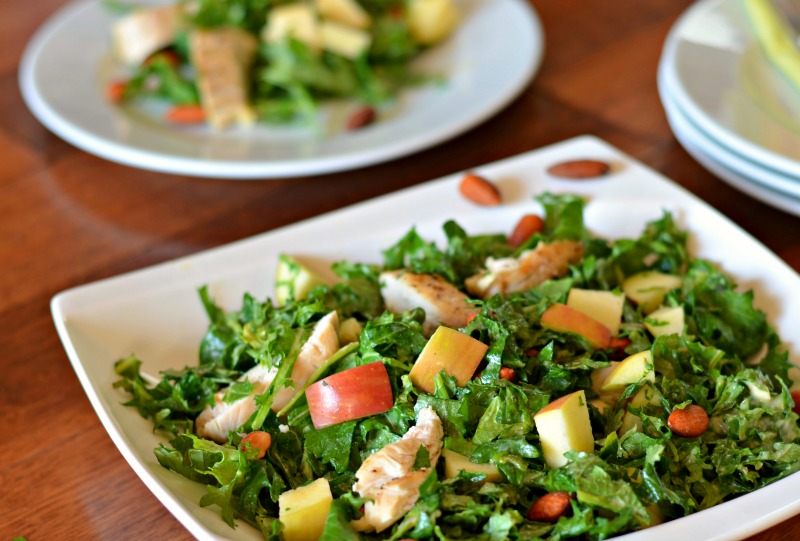 Chicken and Kale Salad with Lemon Tahini Dressing