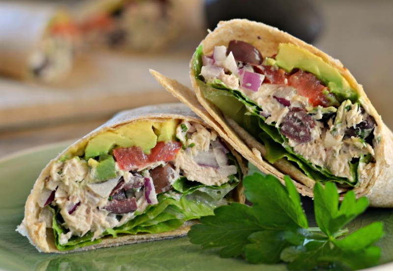 ... whole wheat tortilla. I call it my Mediterranean Tuna Avocado Wrap